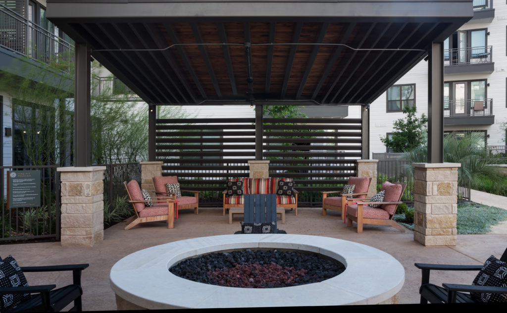 outdoor firepit with lounge seating - Fall has Come to Texas