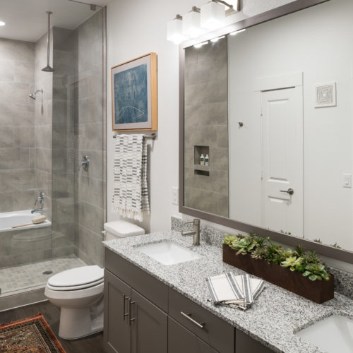 spa bathroom with luxury shower spa/tub combo - There's No Place Like Home